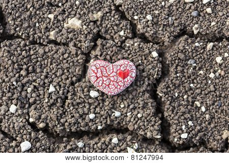 Red Speckled Heart On Dry Soil