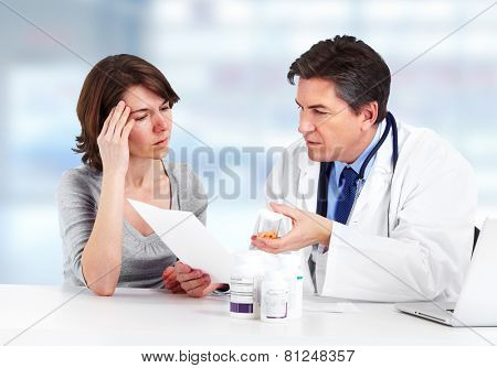 Medical Doctor man and patient woman in hospital