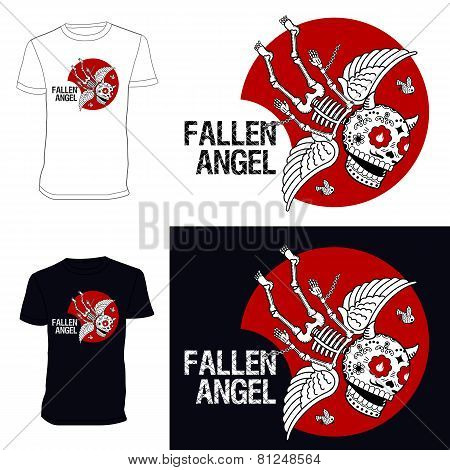 Skeletons. T-shiert. Fallen Angel. 02.