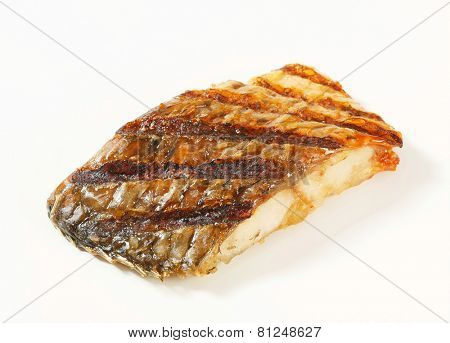 Oven roasted carp fillet on white background
