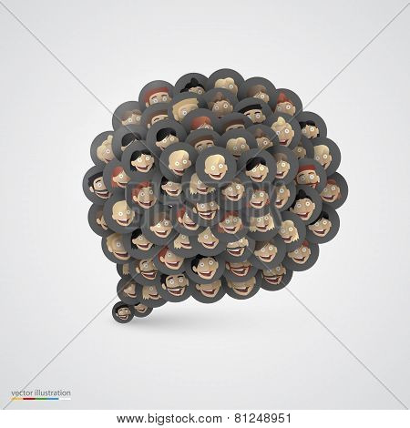 Black speech bubble made of smiling faces.