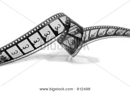 Curled Movie Film Strip (black and white)