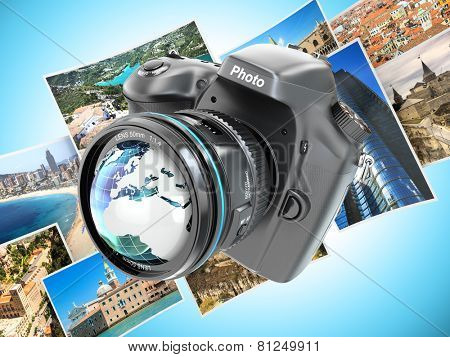 Digital photo camera on background from photographs. 3d