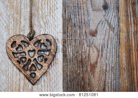 Valentines Day - Heart On Wooden Background