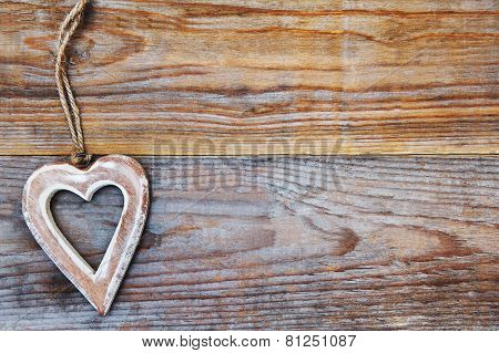 Valentines Day - Heart On Wooden Background - Love Symbol