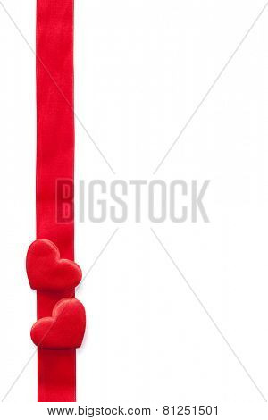 red hearts and ribbon frame background for Valentines isolated