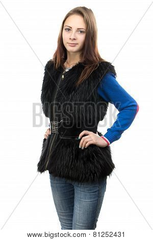 Photo of the young woman in fur waistcoat
