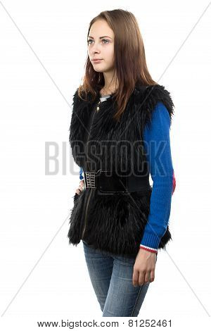 Portrait of the young woman in fur waistcoat