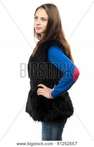 Photo of the young woman in fake fur waistcoat