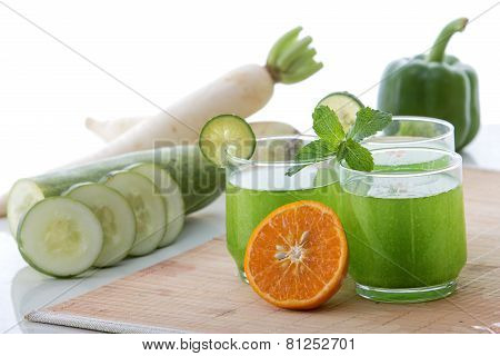 Cucumber, Radish, Paprika And Orange Juice Mix