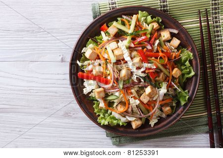 Salad With Tofu And Vegetables Closeup Horizontal Top View