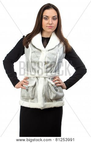 Photo of the brunette in fake fur waistcoat
