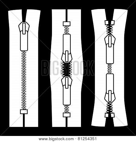 Zipper types vector illustration isolated on black backgr