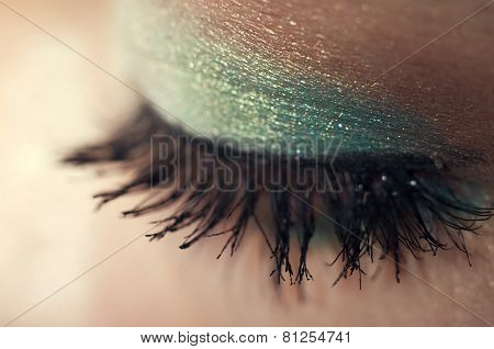 Eye Closeup With Shiny Makeup In Teal And Beige