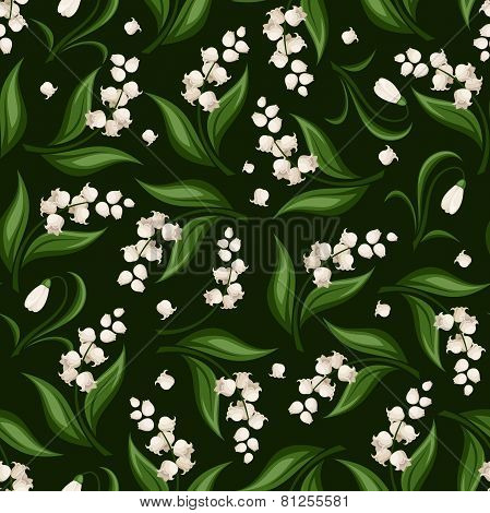 Seamless pattern with lily of the valley and snowdrop flowers. Vector illustration.