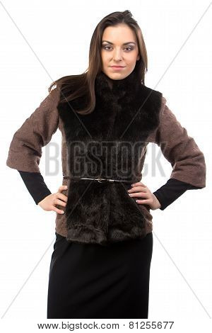 Image of woman in brown fur waistcoat