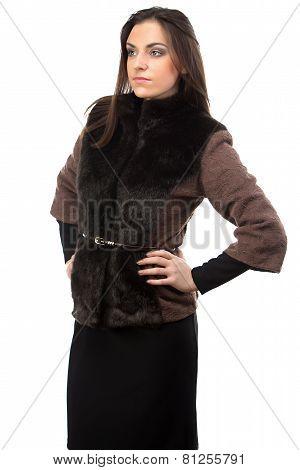 Portrait of woman in brown fur waistcoat