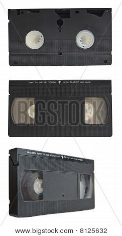 Vhs Tape Collection Set Isolated On White