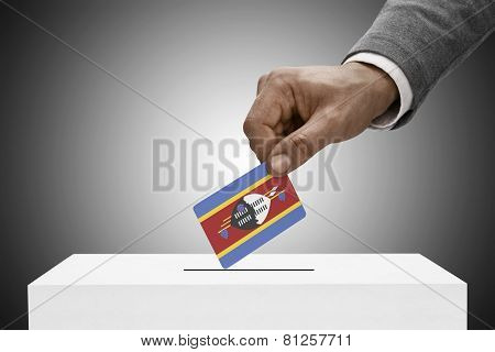 Black Male Holding Flag. Voting Concept - Swaziland