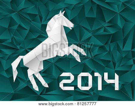 Origami Paper Horse. White Paper Horse, Illustration On Turquoise Abstract Background.