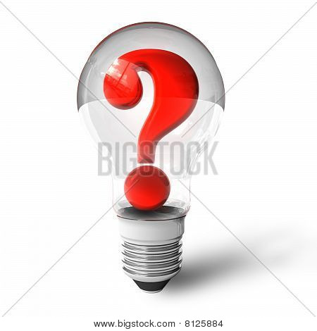 Question mark in lightbulb