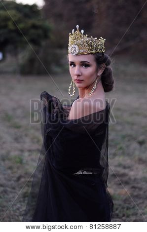 Beautiful Young Queen In Black Veil