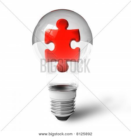 Puzzle piece in lightbulb