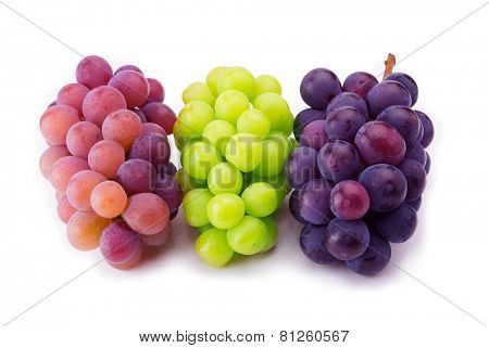 Red, black and white (green) grapes isolated on pure white surface.