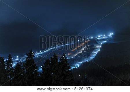 Night view Dundret ski resort