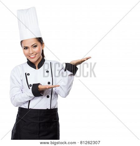 House Wife Or Chef Showing And Presenting