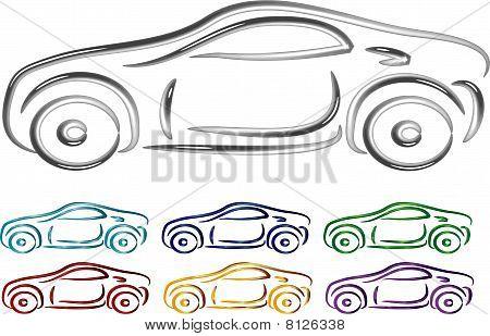 Set of Car design in 3D illustration