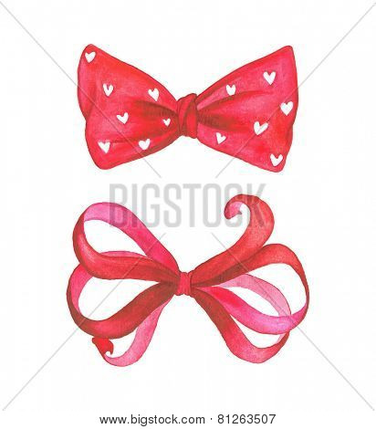 Watercolor red vector bows.