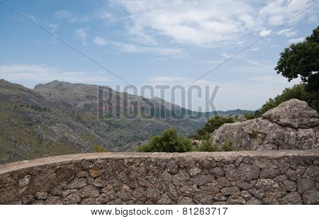 Drystone wall with mountain view