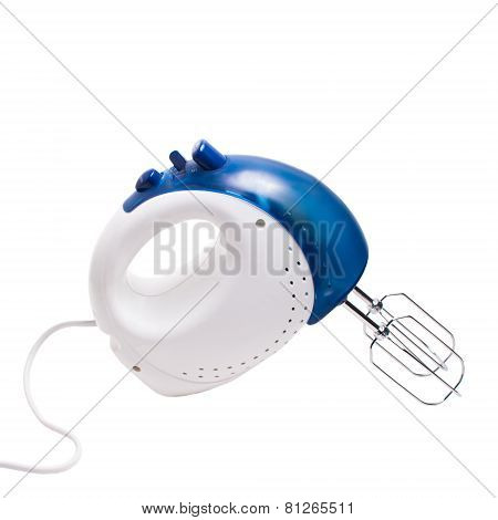 electric mixer blue isolated on white background with clipping p