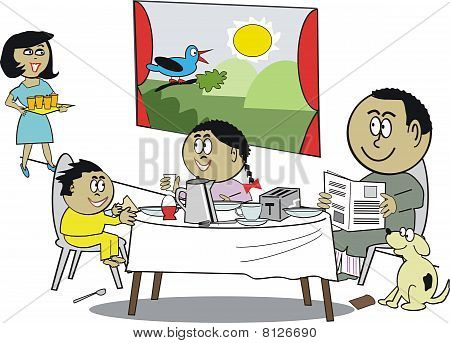 African family breakfast cartoon
