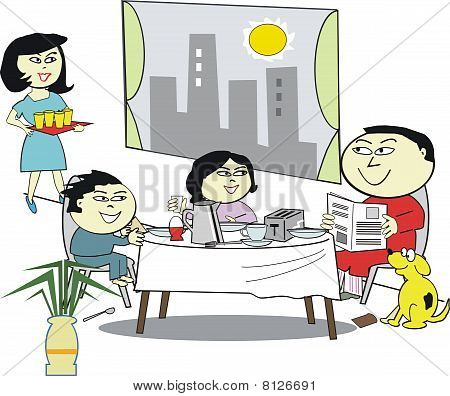Asian family breakfast cartoon