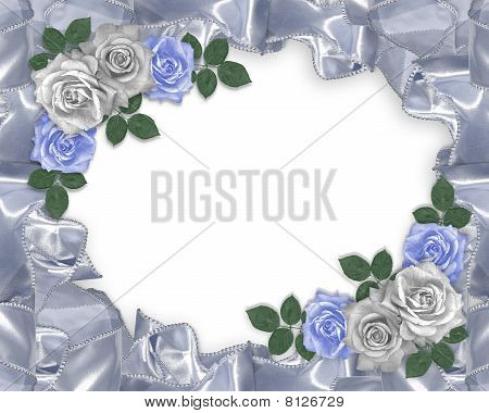 Wedding invitation Blue roses satin