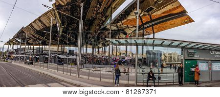 Barcelona, Spain - Feb 8, 2014: Famous Flea Market Els Encants Vells With Mirror Ceiling Reflected B