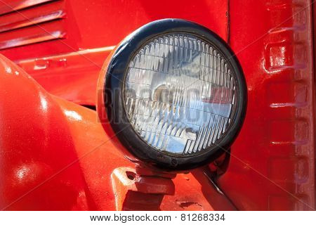 Old Car Headlight. Retro Style. Red. Classic.