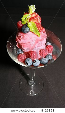 Sorbet with Rasberries and Blueberries