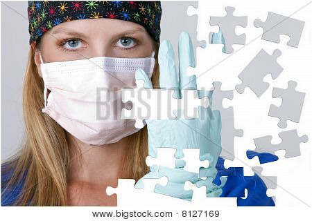 Doctor Wearing A Mask And Gloves With Missing Puzzle Pieces
