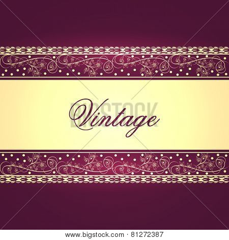Stylish beautiful vintage card or background design with floral decorative border and space for your tex.