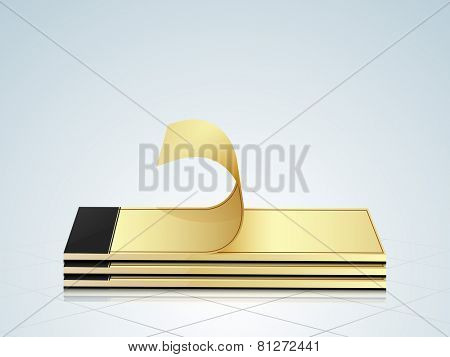 Stack of notepad with turning page on stylish background.