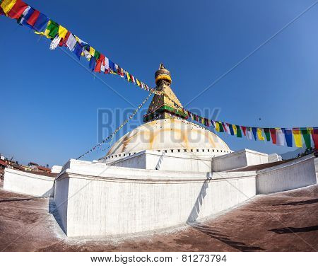 Bodhnath Stupa With Prayer Flags