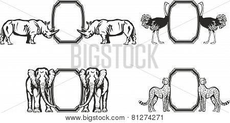 Frame with animals of Africa.
