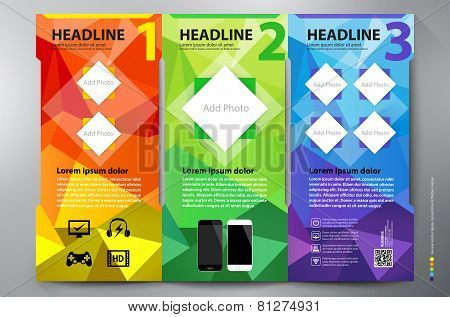 Polygon Brochure Leaflet Design Tri-fold Vector Template.