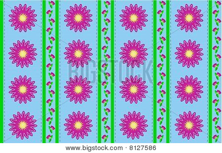 green stripes wallpaper. Stock photo : Jpg Blue Wallpaper with Pink Flowers and Green Stripes