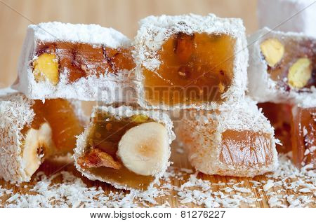 Tasty Oriental Sweets (turkish Delight Lokum) With Powdered Sugar.