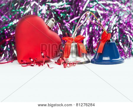 Bright Christmas Composition With Red Toy Heart And Bells (with Easy Removable Sample Text). White I
