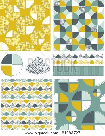 Modern Geometric Seamless Vector Patterns and Icons. Use as fills, digital paper, or print off onto fabric to create unique items.